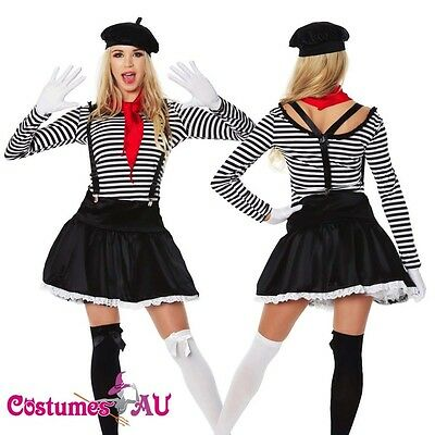 Ladies Mesmerizing Mime Costume French Artist Clown Circus Fancy Dress Outfits - Mime Outfits