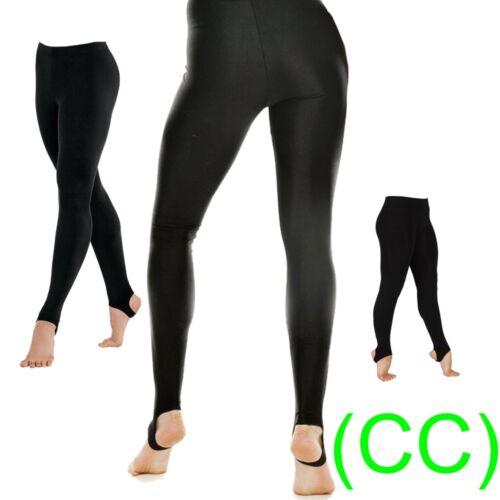 Black Shiny Lycra Stirrup Dance Gym Leggings ice leotards ballet swim yoga (CC)