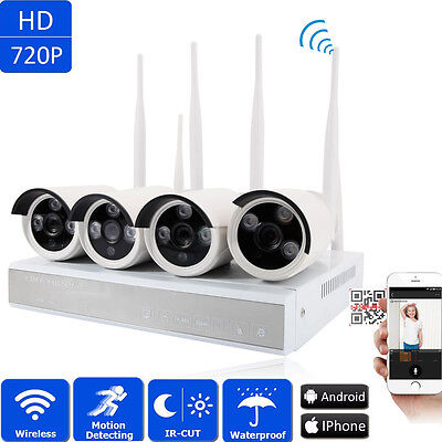 4CH Wireless 1.0MP NVR Wifi IP 720P Outdoor Home Security Cameras System Video