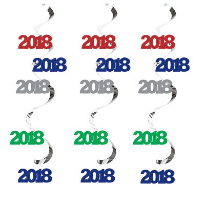 2018 Graduation Party Decorations Danglers Hanging Ceiling Whirls Red Blue