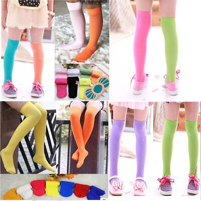 Baby Kids Girls Colorful Over Knee Socks Tights Leg Warmer Stockings Hot NEW - Girls Colorful Tights