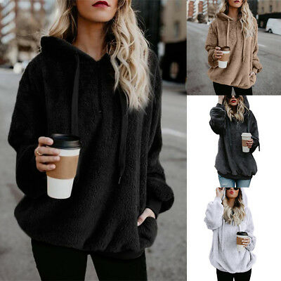 Plus size Women Warm Hooded Loose Pullover Top Sweatshirt Hoodies Jumper Outwear
