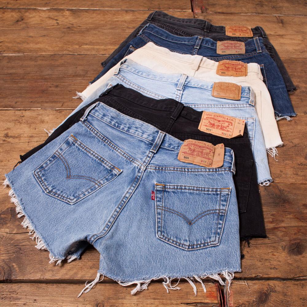 Womens Vintage Levis Shorts Denim 501 Grade A High Waisted Size 6 8 10 12 14 16