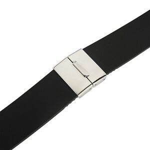 20mm Bonetto Cinturini 320 Black Smooth Rubber Deployment Dive Watch Band Strap