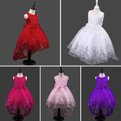 Flower Girls Kids Lace Sequins Party Formal Wedding Pageant Princess Dress - Christmas Kids Dress