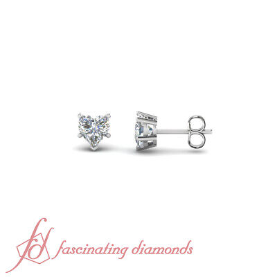 Solid 14k White Gold VS2 Natural Diamonds Heart Shape Cut Earrings GIA Certified