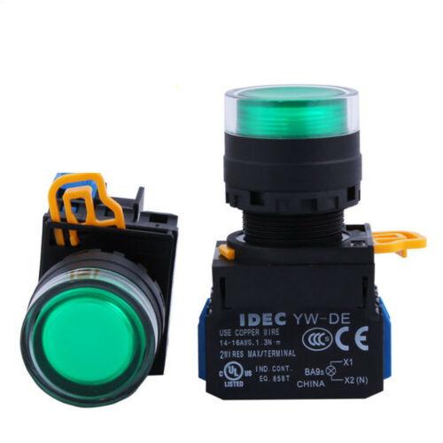 5Pcs NEW IDEC 22mm Illuminated Button Self-locking Switch YW1L-AF2E10Q4G 24V 1NO