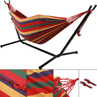 Double Hammock Garden Outdoor Swing Chair Steel Frame With Stand Red