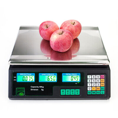 Digital Scale Electronic Price Computing Rechargeable 88 Lb Food Produce Black