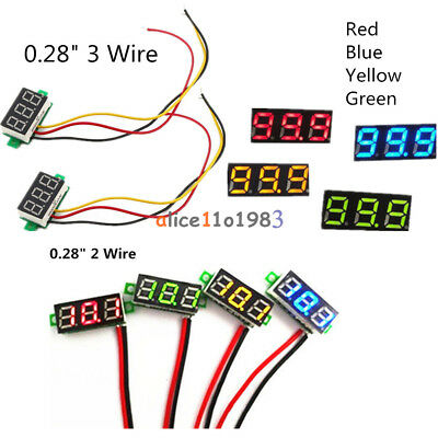 0.28 Redblueyellowgreen 23-wire Voltmeter Led Display Voltage Panel Meter