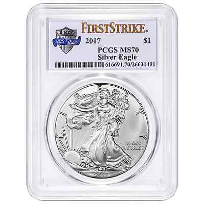 2017 $1 American Silver Eagle PCGS MS70 225th Anniversary First Strike Label