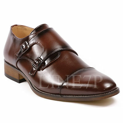 Men's Double Monk Strap Cap Toe Slip On Loafers Fashion Dress Shoes