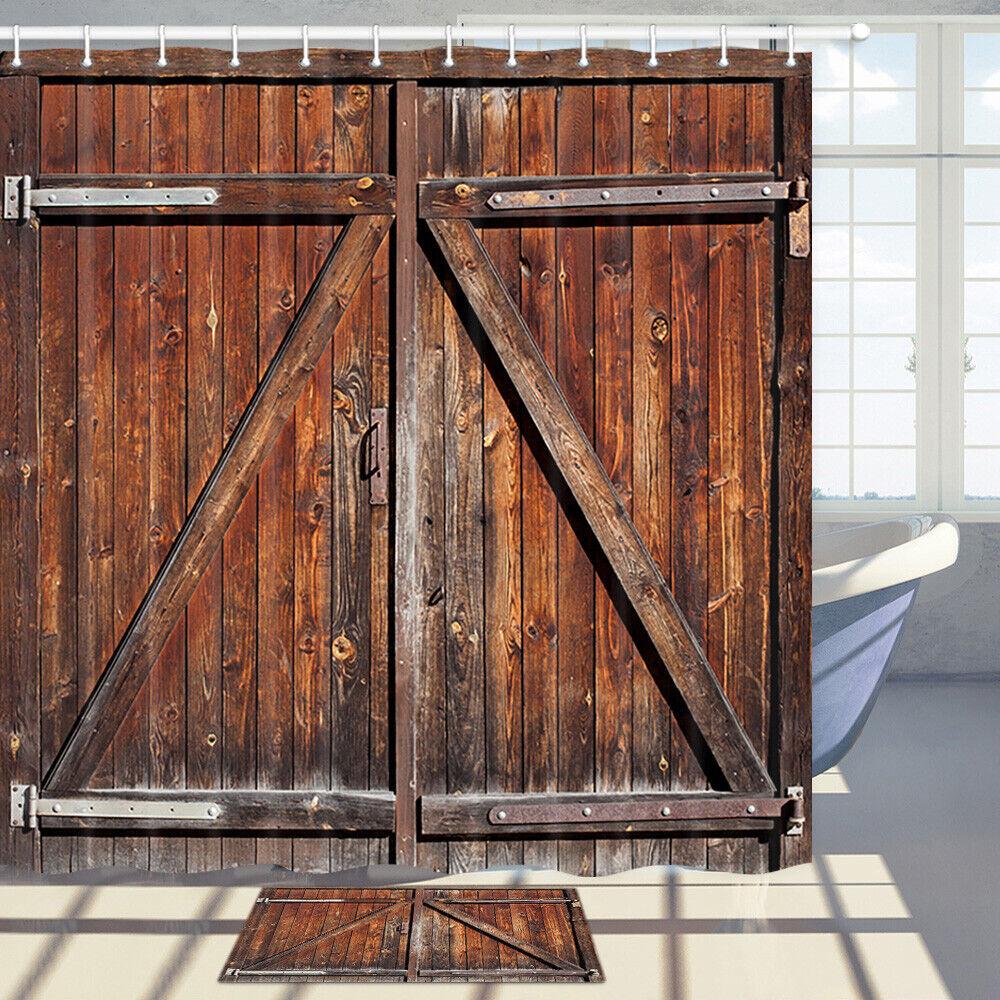 brown barn wooden door shower curtain bathroom