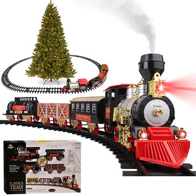 Electric Christmas Train Tracks Set Lights Sound Smoke Kids Toy Gift Around Tree