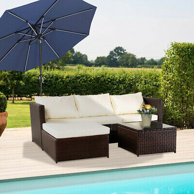 Garden Furniture - Modern Rattan Garden Furniture Sofa Set Lounger 4-Seater Outdoor Patio Furniture