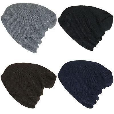 (Fashion Plain Beanie Ski Cap Skull Hat Warm Solid Color Winter Cuff New Unisex )