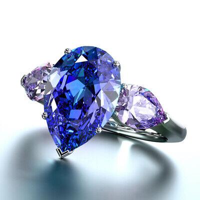 Fashion Women Rings Pear Cut Blue Sapphire 925 Silver Wedding Ring Size 6-10