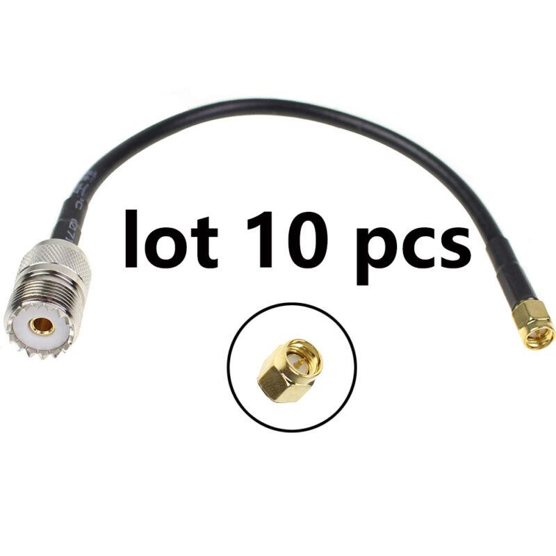 10 Pcs UHF SO239 Female to SMA Male Plug Connector Crimp RG58 Coax Cable 20cm US