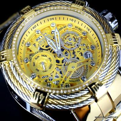 Invicta Reserve Bolt Zeus Tri-Cable Diamond 2 Tone Gold Swiss 52mm Watch New