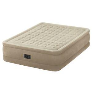 INTEX Queen Size Ultra Plush Fiber-Tech Airbed Mattress & Electric Pump #64458