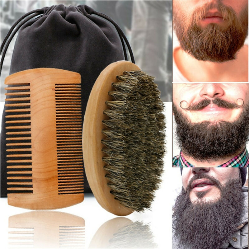 Mustache Care Wood Comb Facial Shaving Boar Bristle Brush Be