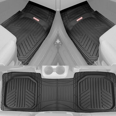 Motor Trend Deep Dish Rubber Car Floor Mats All Weather Spill Capturing   Black