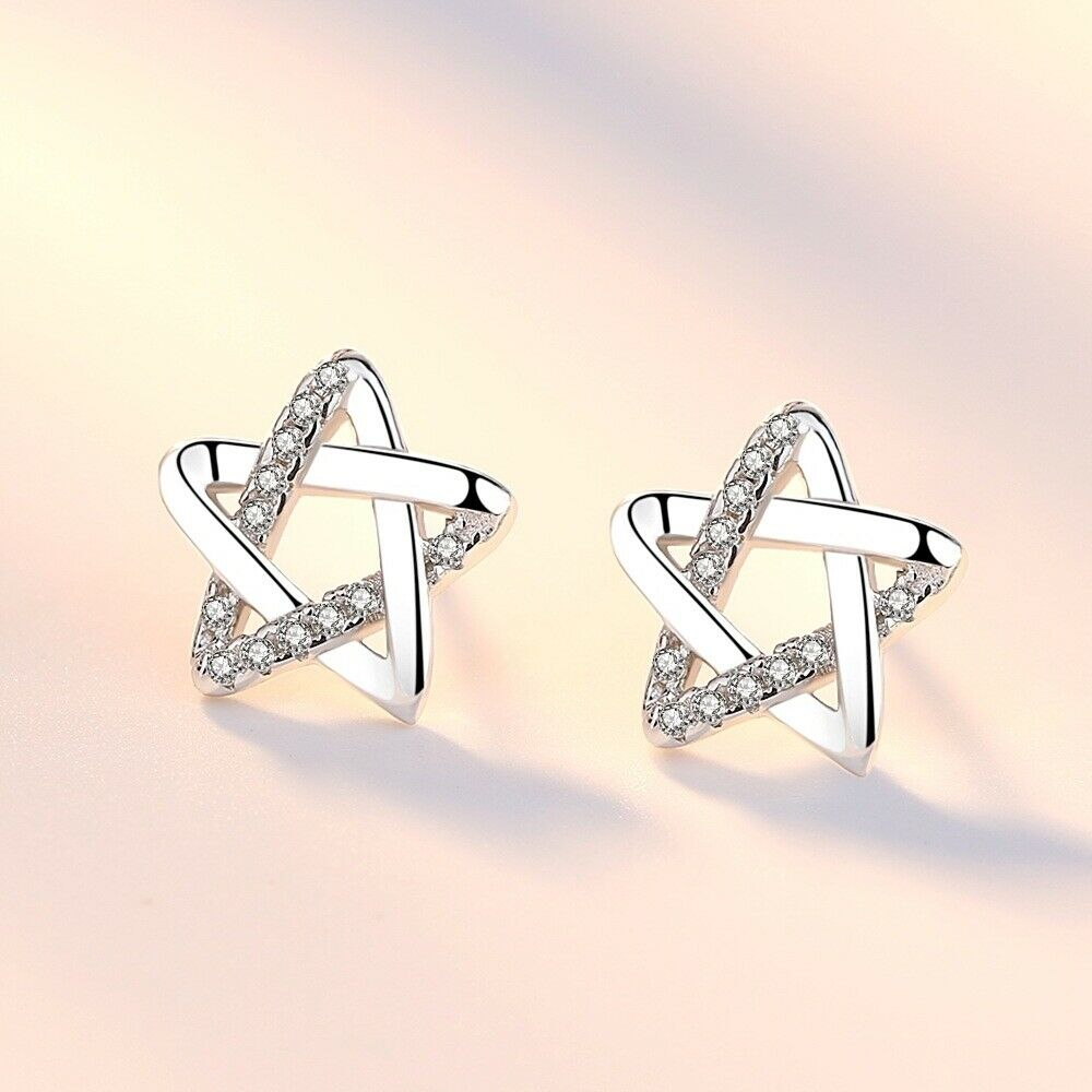 Jewellery - 925 Sterling Silver Star Crystal Curl Stud Earrings Womens Girls Jewellery Gift