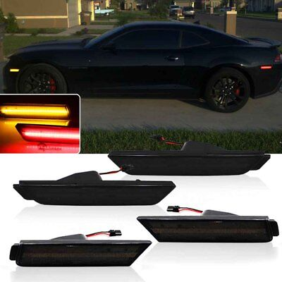 1Set Smoked Lens Amber&Red (Front/Rear)Side Marker LED For 2010-15 Chevy Camaro