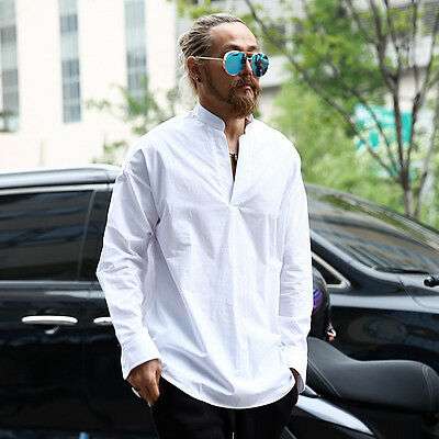 ByTheR Men's Solid White 100% Cotton Casual Open V-neck Henley Collar Shirts