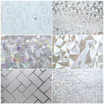 Privacy Window Glass Film Sticker Static Cling 3D Frosted Stained Bathroom Home Frosted Glass Window Film