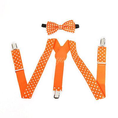 Neon Orange Suspenders (Neon Orange Polka Dots Suspender and Bow Tie Set for Baby Toddler)