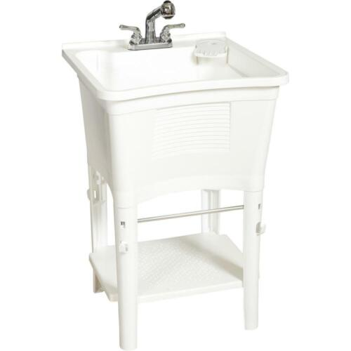 Glacier Bay All-in-One 24 in. x 24 in. 20 Gal. Freestanding Laundry Tub in White