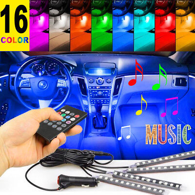 4PCS 12 LED Car Interior Atmosphere Neon Lights Strip Music Control + IR Remote
