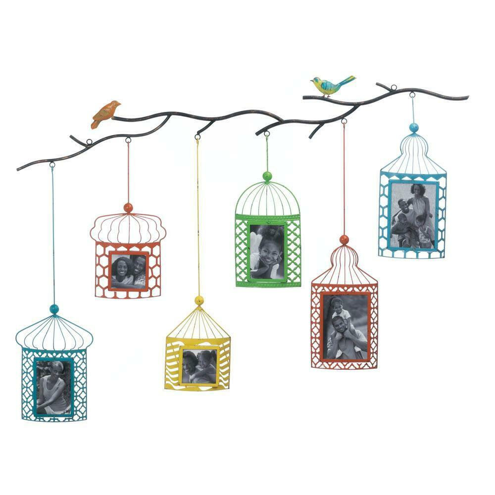 Wall Mounted Set of 6 Brightly Colored Birdcage Picture Photo Frame ...