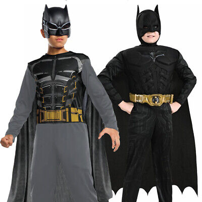 KIDS DELUXE BATMAN COSTUME DARK KNIGHT JUSTICE LEAGUE SUPERHERO DC FANCY DRESS
