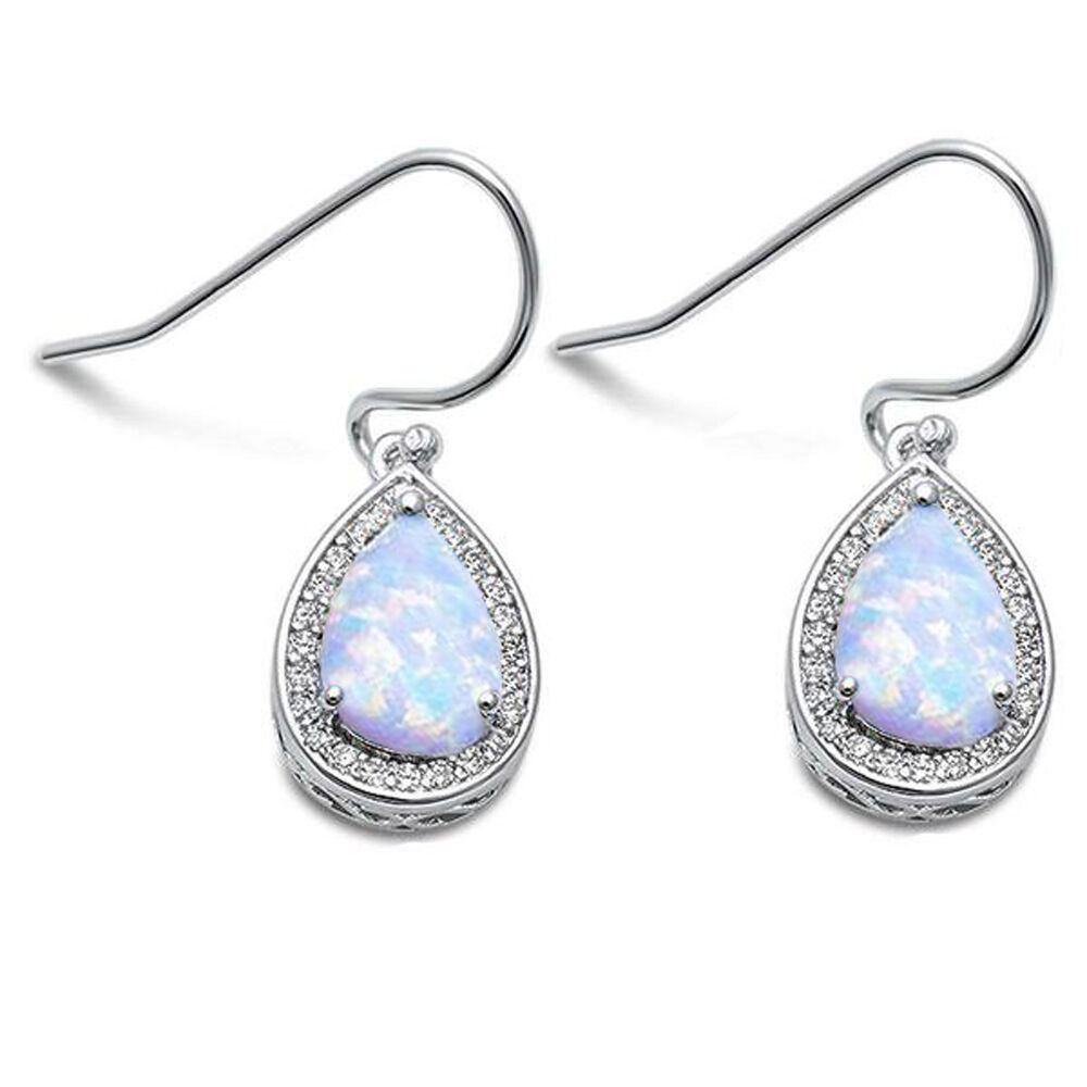 Pear Shape White Opal & Cz .925 Sterling Silver Earrings