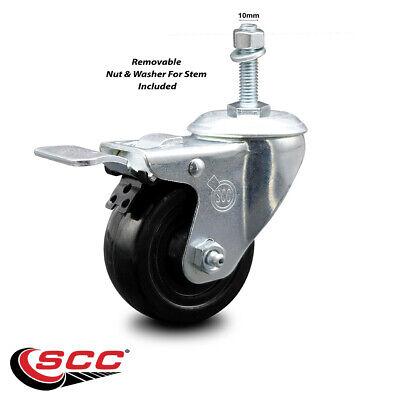 Hard Rubber Swivel Ts Caster W3.5 Wheel 10mm Stem Wtotal Lock Brake