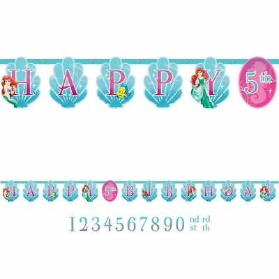 Little Mermaid Jumbo Happy Birthday Custom Add-an-Age Birthday Banner Kit 10Feet