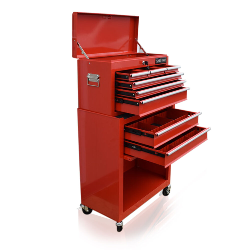 US PRO TOOLS RED Affordable Tool Chest Box Tool Free Drawer Divider Cabinet