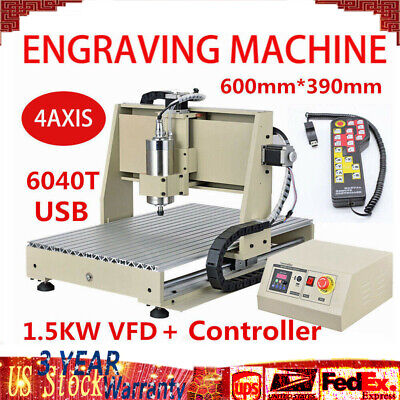 Usb 6040t 4 Axis Cnc Router Engraver 1.5kw Engraving Machine Drilling Handwheel