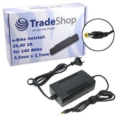 Pedelec E-Bike Ladegerät Netzteil Adapter für 24V-Akkus Rundstecker 29,4V 2A