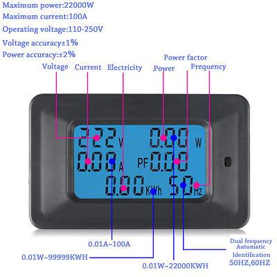 Ac Ammeter Voltmeter 110-250v 100a Digital Lcd Meter Monitor Power Energy Newly