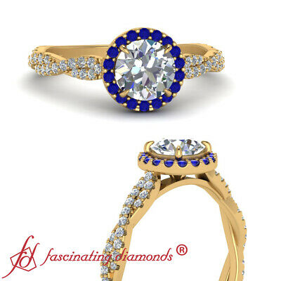 Halo Style Round Cut Diamond &  Sapphire Infinity Twist Engagement Ring 0.75 Ctw