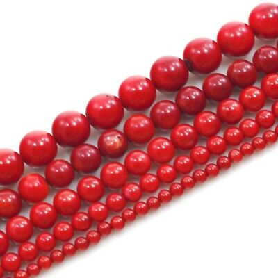 Natural Red Sea Coral Round Spacer Loose Beads 15