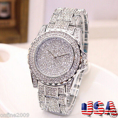 $11.38 - Luxury Women Watch Diamond Stainless Steel Crystal Rhinestone Lady 2Quartz Watch