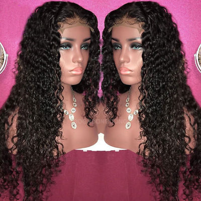 Curly Wig Bleached Knots Brazilian Virgin human Hair Lace Frontal wigs