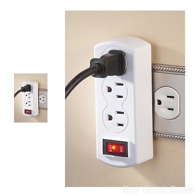 Indoor Triple Plug Outlet Adapter On/Off Switch Electrical Connector Aid Add In