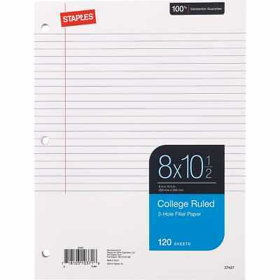 Staples College Ruled Filler Paper 8 X 10-12 120 Sheets 36 Pack 2072868