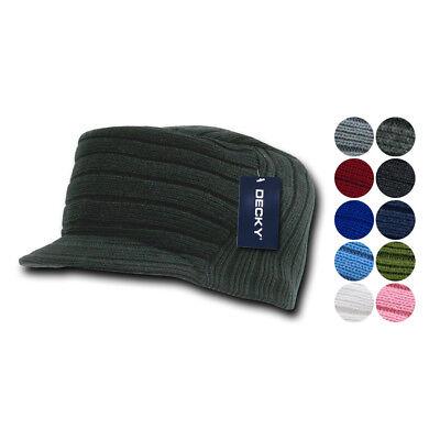 Gi Cadet Army Military Flat Top Jeep Beanies Caps Hats Ribbed Knit Visor Ski Gi Jeep Caps