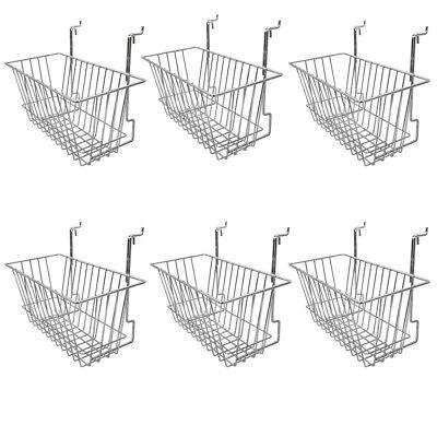 6 Pieces 12 X 6 X6 Inches Chrome Metal Wire Slatwall Gridwall Narrow Deep Basket